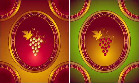 repujado: Vinos de recogida en las etiquetas de estilo antiguo o un logotipo para tienda de vinos Vectores