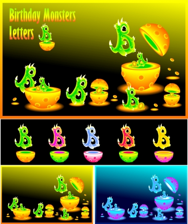 Letter  B and Birthday monster letters B Vector