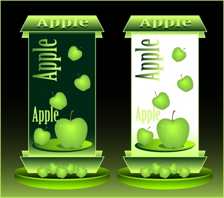 Banners for advertising Green apples and juice or  purged food in stores and network Stock Vector - 13999726