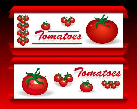 Banners for advertising tomatoes and purged food in stores and network Vector