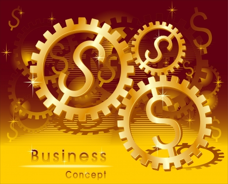 Business concept  Rotation Mark Gold Dollar Vectores