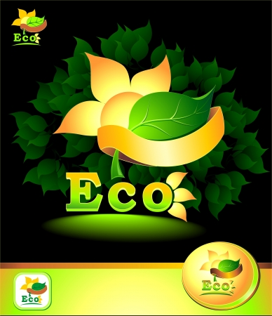 Eco concept with leaves sun flower petals rays Earth ribbon Vector