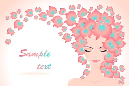 peluca: Chica con el pelo flores para la publicidad de los medios de pelo o cosm�tico o un perfume o un vestido de pelo o el sal�n de SPA