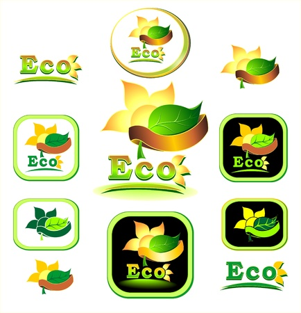 Ecologic   icon and logotype  with leaves, sun, flower, petals, rays, Earth, ribbon Vector