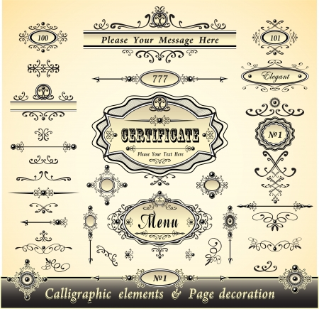 Set calligraphy and pages decoration  - gold collection Vector