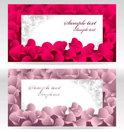 post card: Twee post-kaart of frames of banners met rode en roze rozenblaadjes en met water druppels Stock Illustratie