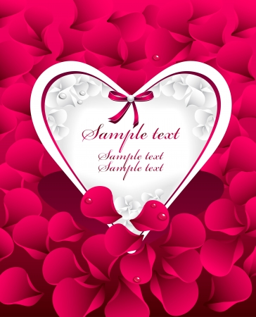 Post card or frames or banners with  heart, red  petals rose, bow and with water drops Vector
