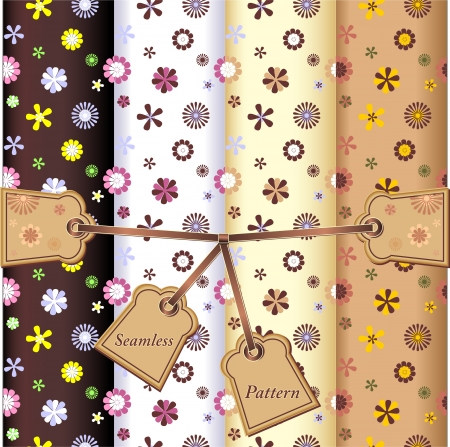 Set Seamless flowers patterns on white black yellow and brown background  with labels and ribbon Vector