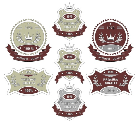 Set Quality labels  in white, grey, brown, oliv colors Vector