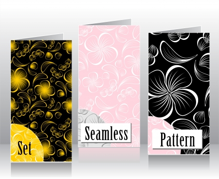 decorate mobile telephone: Set seamless patterns with flowers petals and leaves