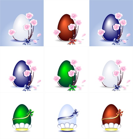 on decorate mobile telephone: Set Easter Eggs with flowers ribbons and bows Illustration