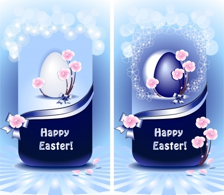 decorate mobile telephone: Set Happy Easter in blue color with flowers ribbons and bows