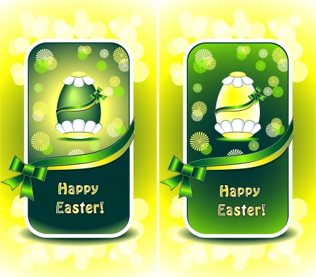decorate mobile telephone: Set Happy Easter in green color with flowers ribbons and bows