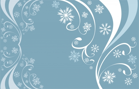 Winter background with snowflakes in blue and  white colors Vector