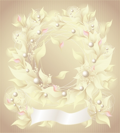 Background with flowers pearls petals and ribbon for wedding or other things Vector