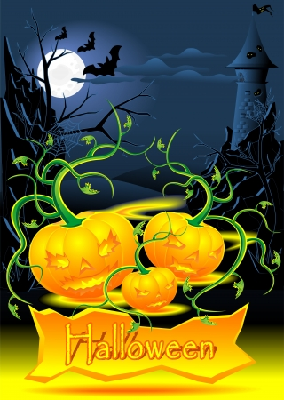 Halloween illustration with evil light pumpkins castle bats Stock Vector - 14988438