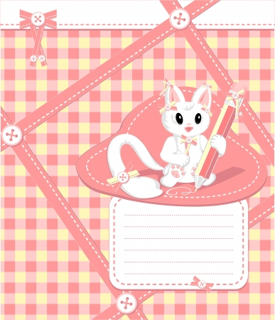 decorate notebook: Copybook with cat pencil bows  buttons tapes in cell