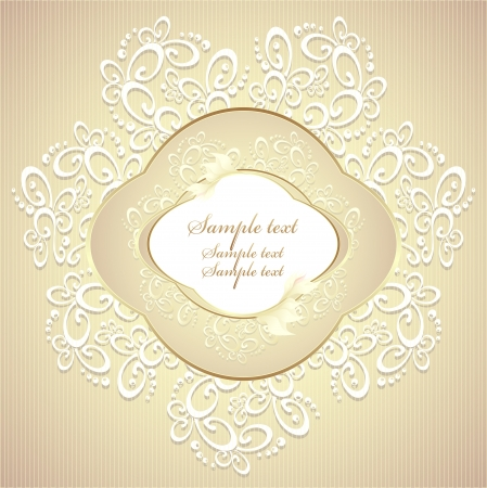 Wedding or sweet frame with petals and lace in gold colors Vector