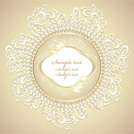Wedding or sweet frame with pearls petals and lace in gold colors Vectores