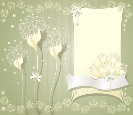 Elegant light floral background with frame flowers bows ribbon pearls and lace Vector