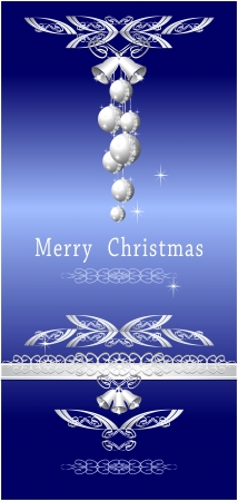 Christmas blue silver with balls  silver bells ribbon lace Vector