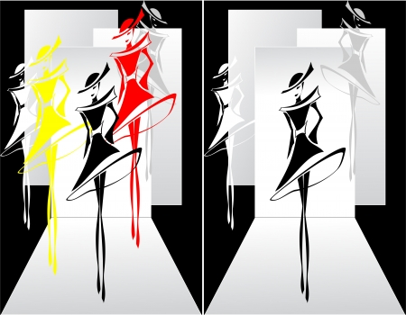 show: Set  Fashion show in graphic style