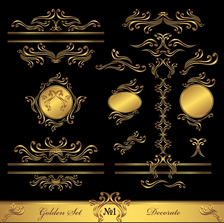 Golden Set Calligraphic and Decorate elements for frames pages
