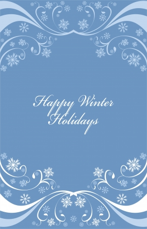 Winter background or frame with snowflakes on blue Vector