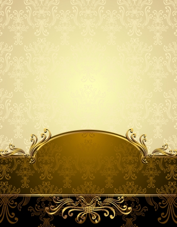 Set Seamless pattern in Victorian style Gold and brown colors Vector