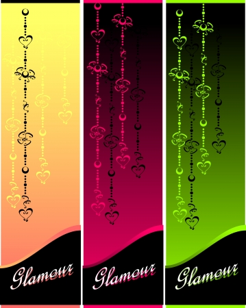 Set Glamour banners or labels with hearts and flowers for jewelry or cosmetic
