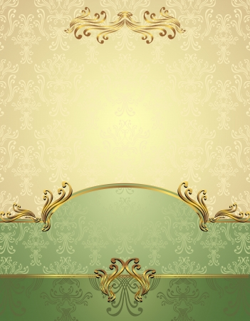 Set Seamless pattern in Victorian style Gold and green colors