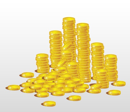 Stacks of gold coins.  The concept of profit
