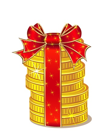 Stack of gold coins with ribbon and bow. Concept coins as present or prize Money or win