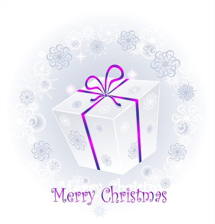 Gift in a box with a bow on a background of snowflakes Illustration