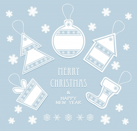 Merry Christmas and New Year labels in blue color Vector