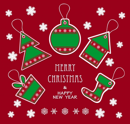 Merry Christmas and New Year labels in green red color Vector