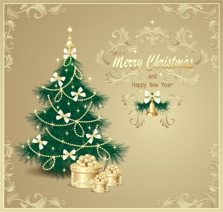 Post card with Christmas Tree and gifts bows, bells, stars, garland and beads