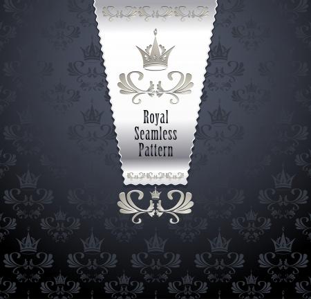 fondo elegante: Royal patr�n transparente con corona o el fondo real Vectores
