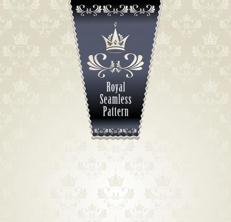fragrance: Royal naadloze patroon met kroon of Royal lichte achtergrond Stock Illustratie