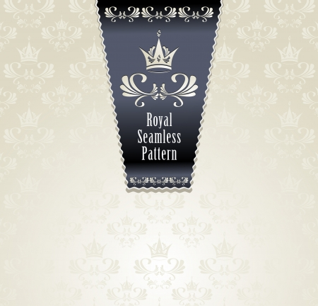 Royal seamless pattern with crown or Royal light background   Vector