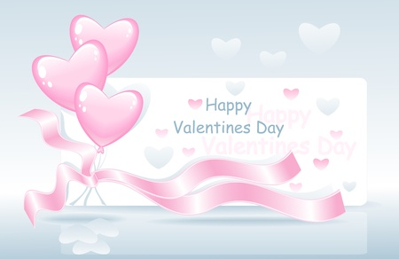 post card: Post card Happy Valentines Day with balloons ribbons and hearts