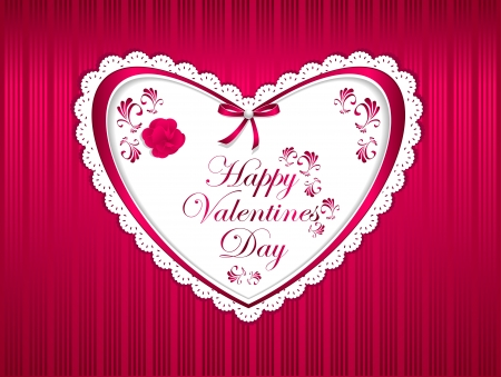 Post card Happy Valentines Day with flower ribbon bow pearl and hearts Vector