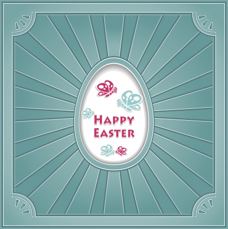 on decorate mobile telephone: Post Card Happy Easter with egg Butterflies rays in retro style