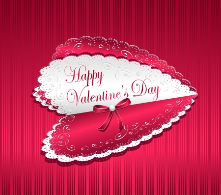 Post card Happy Valentine's Day with ribbon bow pearl and hearts Stock Vector - 17181589