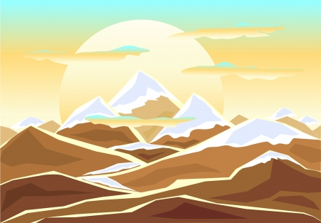 mounts: Landscape with  mounts in decorate style Illustration