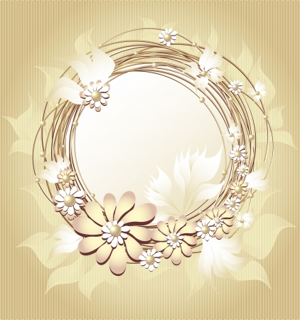 mother of pearl: Scrapbooking floral  frame in Gold colors for wedding or other holiday Illustration