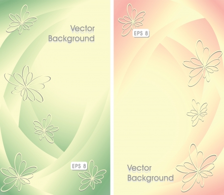 Two abstract background with flowers in green yellow pink color Vector