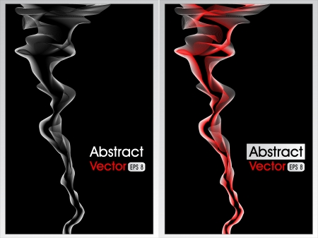 Two abstract background with smoke red and white on black for advertising something Vector