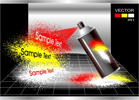 aerografo: Concepto Aerosol spray de pintor para la publicidad o la pintura de aerosol Efecto