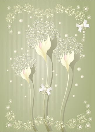 Elegant light scrapbooking  floral background with  flowers bows  pearls and lace Vector